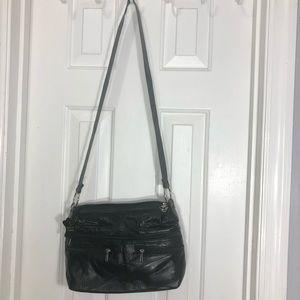 Black leather multi zipper pocket purse